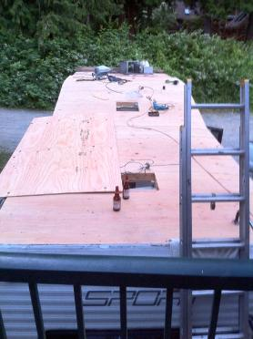 New Plywood on RV roof Victoria BC